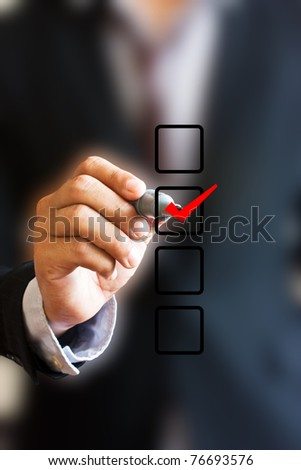 Check Mark and Box with Business Hand Writing. - stock photo