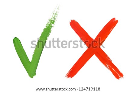check mark and cross - stock photo