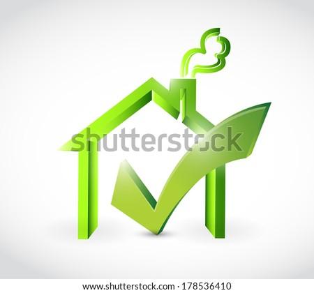 check mark approve home illustration design over a white background - stock photo