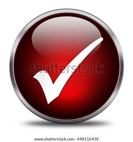check mark button isolated on white background. 3d render - stock photo