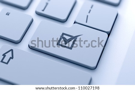 Check mark button on keyboard with soft focus