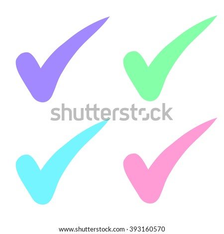check mark choice colorful pastel raster copy. - stock photo