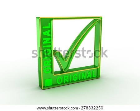 Check  mark icon in rectangle with ORIGINAL word - stock photo
