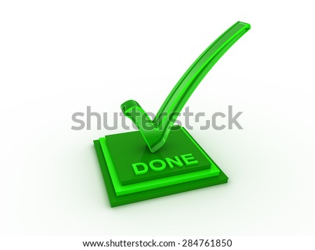 Check  mark icon on rectangle with DONE word - stock photo
