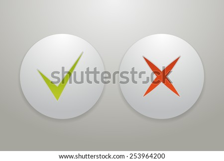 Check mark icons, tick and cross on buttons - stock photo