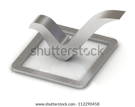 Check mark of steel 3d illustration over white background - stock photo