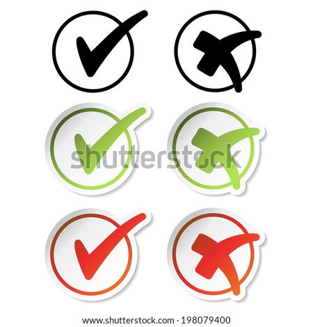check mark stickers, yes and no buttons, red, green, black - stock photo