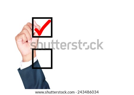 check mark with copy space by businessman draw on whiteboard white background - stock photo