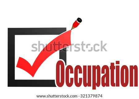 Check mark with occupation word image with hi-res rendered artwork that could be used for any graphic design. - stock photo