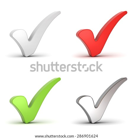 Check marks or 3d ticks isolated over white background - stock photo