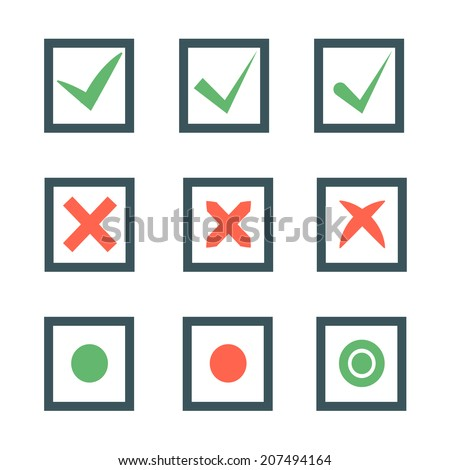 Check marks or ticks in boxes set. Positive and negative passed voting agreement true or completion of tasks on a list in red and green color.  - stock photo