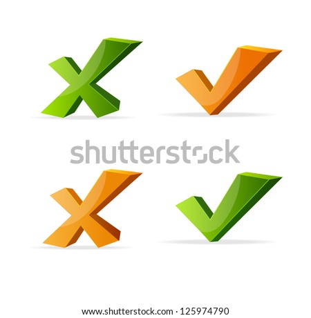 check marks Yes No - stock photo