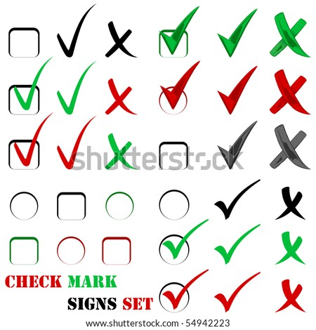 Check sign and tick sign set isolated on white - stock photo