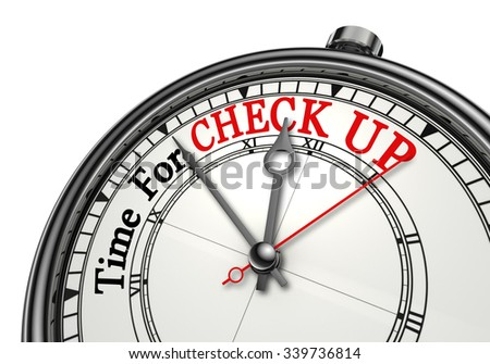 Check up time red word on concept clock, isolated on white background