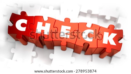 Check - White Word on Red Puzzles on White Background. 3D Illustration.