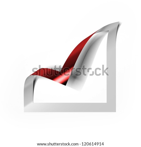 Checkbox icon with red angle folded - stock photo