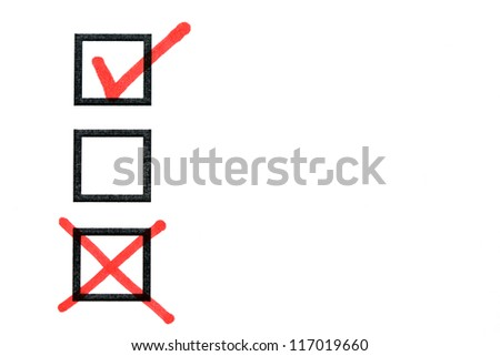 checkbox with a tick and a cross - stock photo