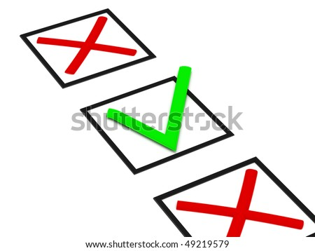 Checkbox with crosses and ticks isolated on white background. High quality 3d render.