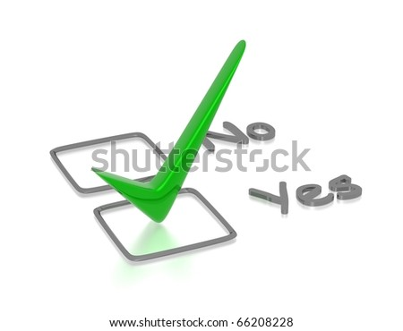 Checkbox with green checkmark isolated on white - stock photo