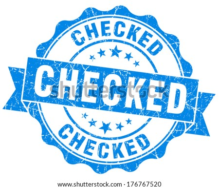 checked blue grunge stamp - stock photo