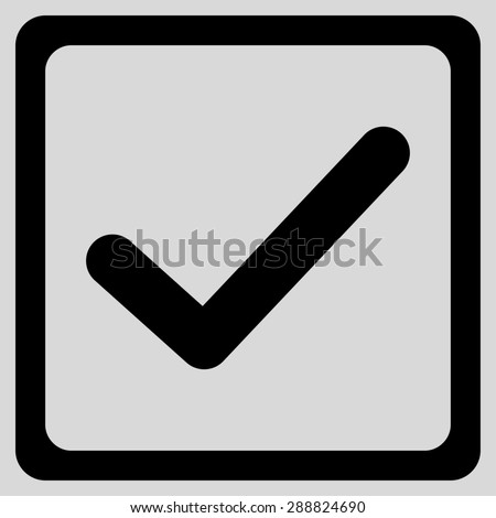Checked checkbox icon from Business Bicolor Set. This flat raster symbol uses black color, rounded angles, and isolated on a light gray background. - stock photo