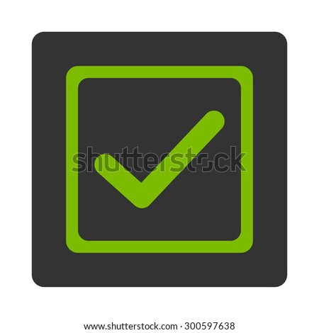Checked checkbox icon. This flat rounded square button uses eco green and gray colors and isolated on a white background. - stock photo