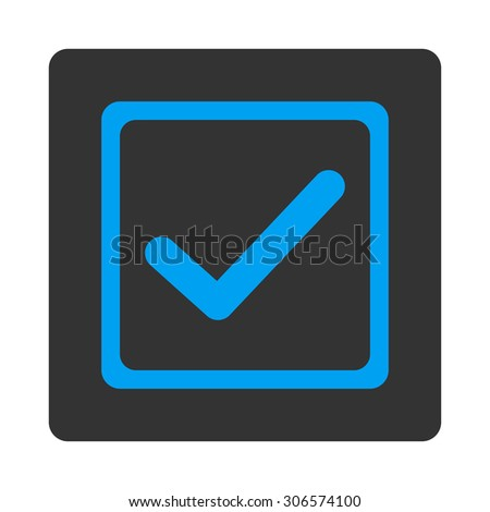 Checked checkbox icon. This flat rounded square button uses white and gray colors and isolated on a white background. - stock photo