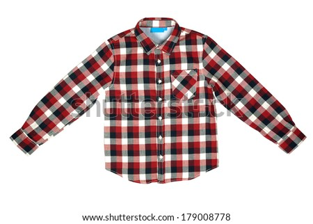 Checked colored shirt for boy isolated with clipping path