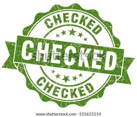 checked green grunge stamp - stock photo