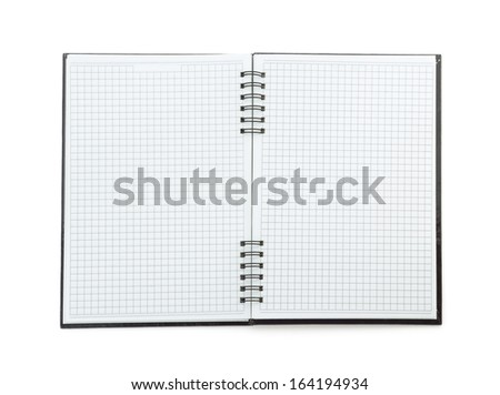 checked note book paper isolated on white background - stock photo