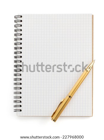 checked notebook isolated on white background