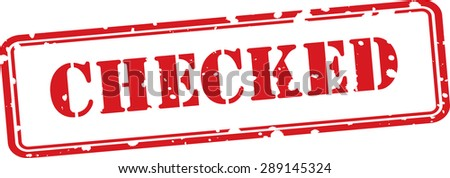 Checked red grunge stamp isolated on white background. - stock photo