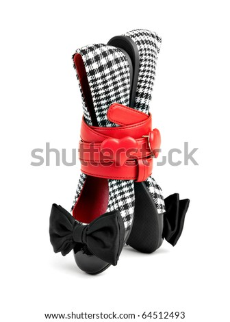 Checked Shoes with Red Belt - stock photo