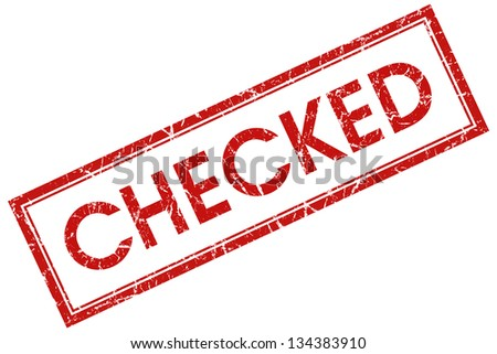 checked stamp - stock photo