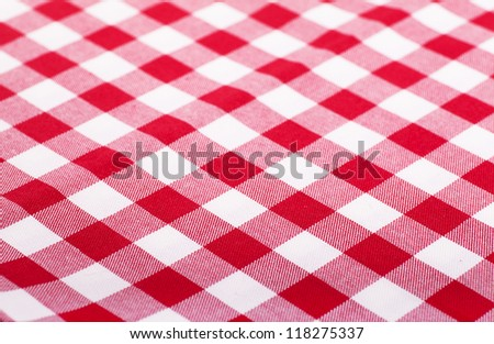 Checked with red and white tablecloth