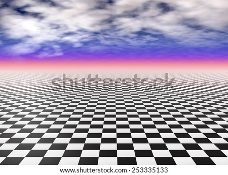 Checkerboard floor tiles, black and white