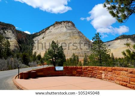 Checkerboard Mesa - Zion Canyon National Park, Utah - stock photo