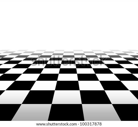 Checkered background floor pattern in perspective with a black and white geometric design fading to white in the distance with a blank area for your text. - stock photo