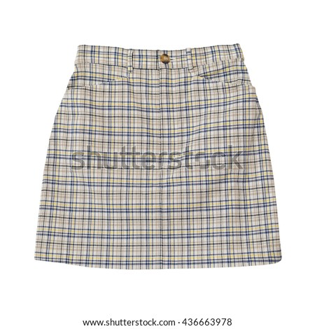checkered beige skirt isolated on the white background with working path