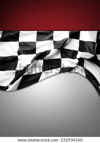 Checkered black and white flag. Copy space - stock photo