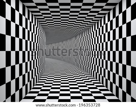 Checkered black and white tunnel. - stock photo