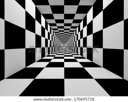 Checkered black and white tunnel abstraction - stock photo