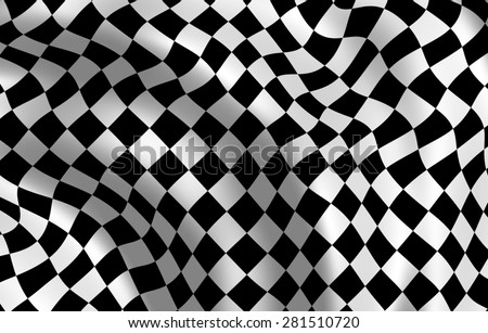 Checkered end-of-race flag fluttering on a wind. Close up.  - stock photo