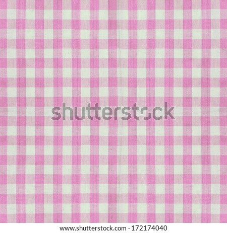 Checkered fabric closeup , tablecloth texture  - stock photo