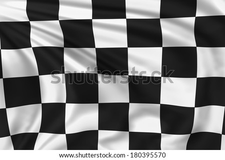 Checkered flag waving in the wind. High quality illustration.  - stock photo