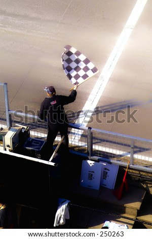 Checkered Flag - Winning and Race at Brands Hatch Raceway, UK - stock photo