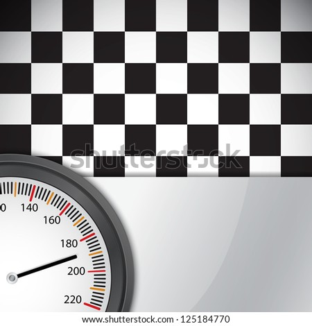 Checkered flag with metal frame and speedometer. Raster version of the loaded vector