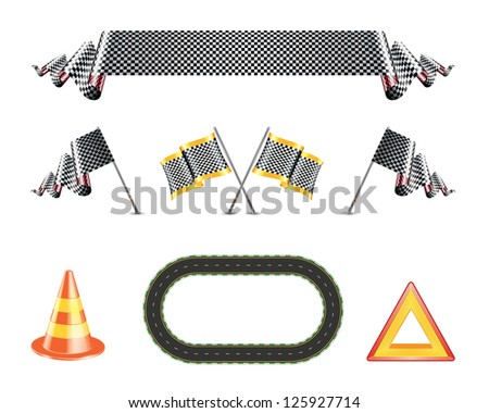 checkered flags and ribbons, racing track, traffic cone and warning sign - stock photo