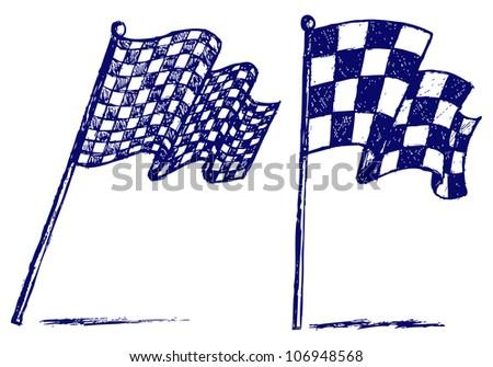 Checkered flags. Raster - stock photo