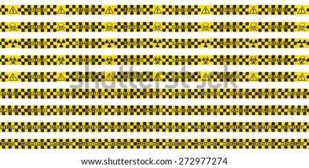 Checkered Hazard Tape Lines Collection - stock photo
